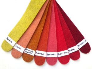 Cartella colori del feltro nella gamma dal giallo al bordeaux - Cose di Laura creatività in feltro