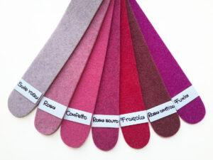 Cartella colori del feltro nella gamma del rosa - Cose di Laura creatività in feltro