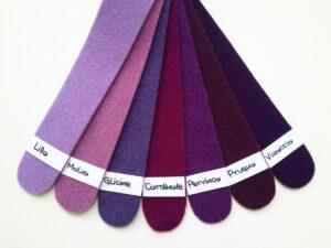 Cartella colori del feltro nella gamma dal lilla al viola - Cose di Laura creatività in feltro
