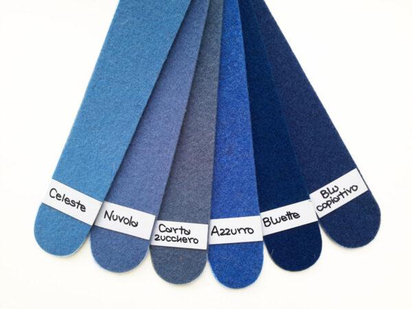 Cartella colori del feltro nella gamma dal celeste al blu - Cose di Laura creatività in feltro