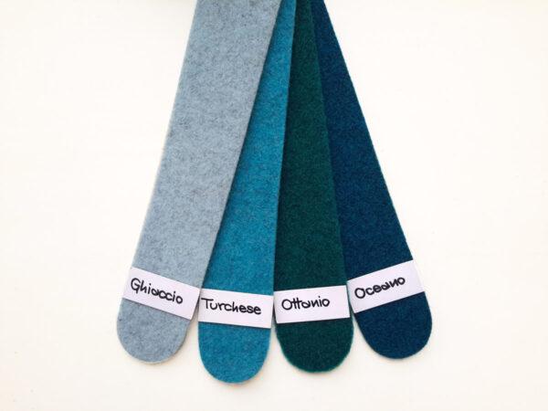 Cartella colori del feltro nella gamma del turchese e ottanio