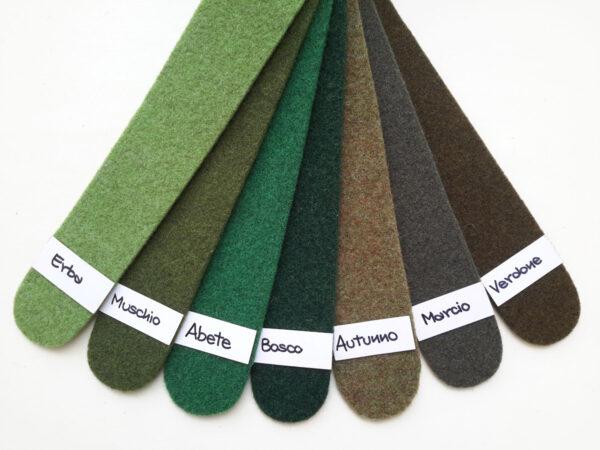 Cartella co,ori del feltro nella gamma del verde - Cose di Laura creatività in feltro