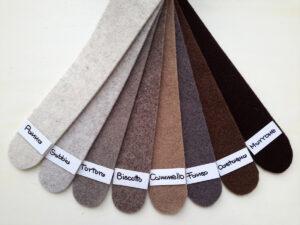 Cartella colori del feltro nella gamma dal panna al marrone - Cose di Laura creatività in feltro