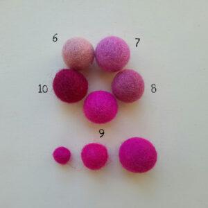 Palline in feltro nella gamma del rosa - Cose di Laura creatività in feltro