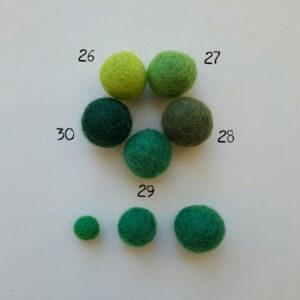 Pallinedi feltro nella gamma del verde - Cose di Laura creatività in feltro