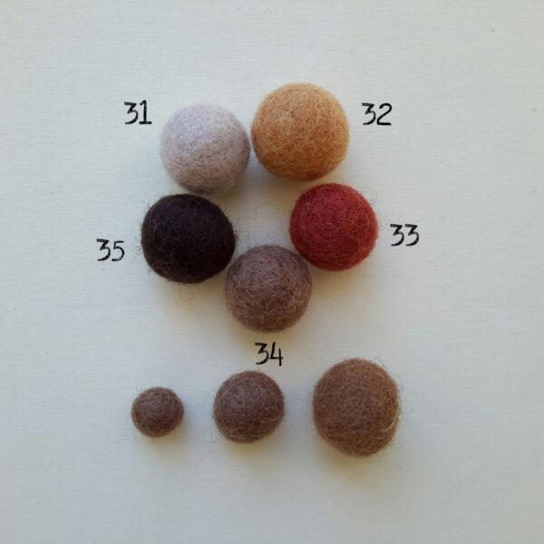 Palline di feltro nella gamma dal beige al marrone - Cose di Laura creatività in feltro