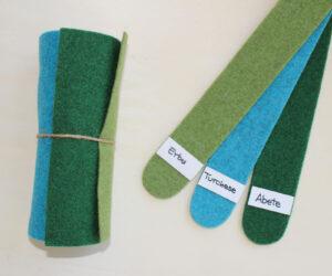 Dettaglio girella erba turchese abete - Cose di Laura creatività in feltro