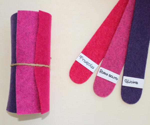 Dettaglio girella fragola rosa scuro glicine - Cose di Laura creatività in feltro