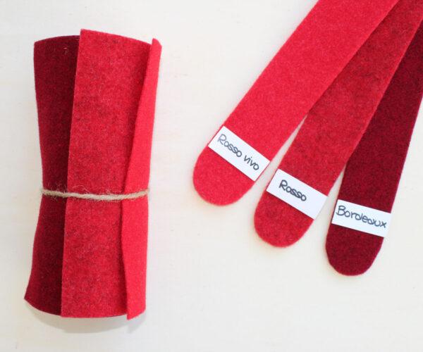Dettaglio girella rosso vivo rosso bordeaux - Cose di Laura creatività in feltro