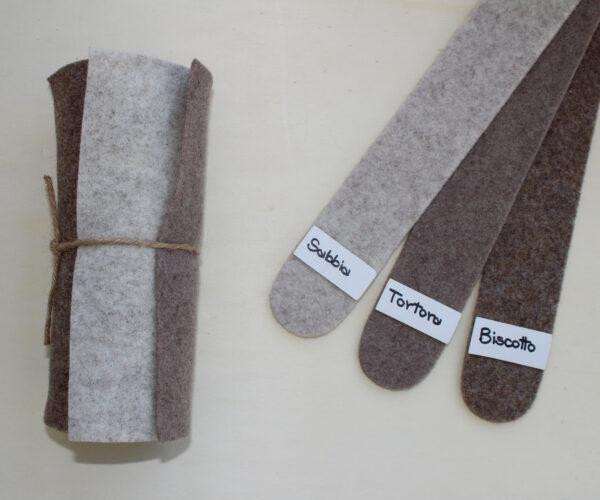 Dettaglio girella sabbia tortora biscotto - Cose di Laura creatività in feltro