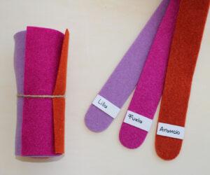 Dettaglio girella lilla fuxia arancio - Cose di Laura creatività in feltro