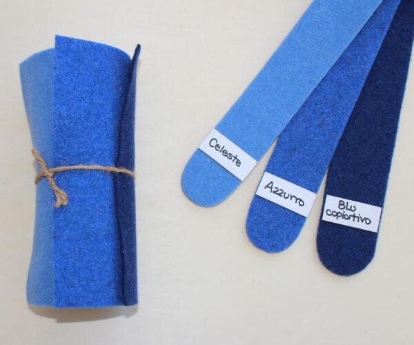 Dettaglio girella celeste azzurro blu copiativo - Cose di Laura creatività in feltro