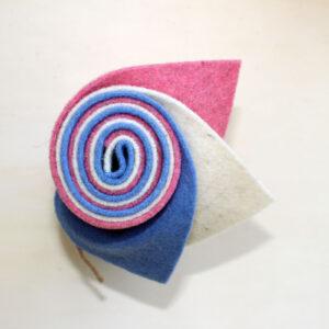 Girella feltro 2 mm rosa, panna e celeste - Cose di Laura creatività in feltro