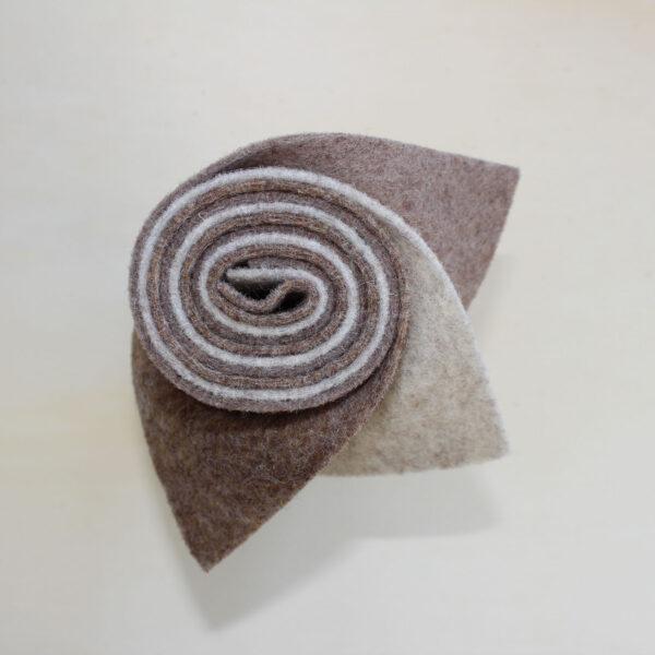 Girella feltro 2 mm sabbia, tortora e biscotto