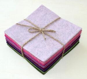 Quadrotto feltro 3 mm rosa, viola e verdi - Cose di Laura Creatività in feltro