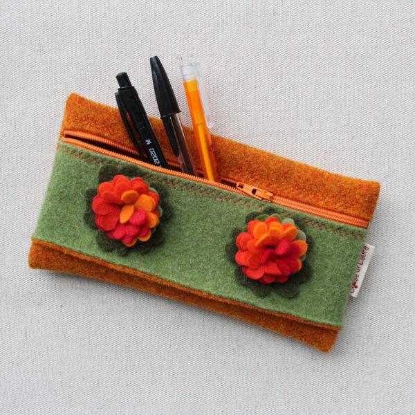 Astuccio arancio e verde - Cose di Laura creatività in feltro