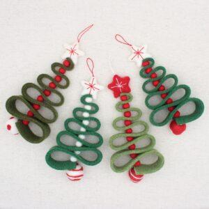 """Alberelli di Natale """"zig zag"""" verdi - Cose di Laura creatività in feltro"""
