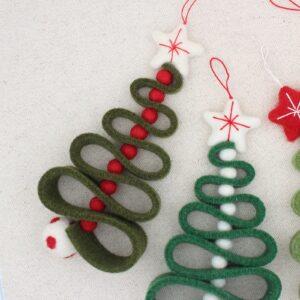 """Alberello di Natale """"zig zag"""" muschio e rosso - Cose di Laura creatività in feltro"""