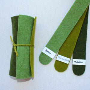 Girella feltro 2 mm erba, pistacchio e muschio - Cose di Laura creatività in feltro