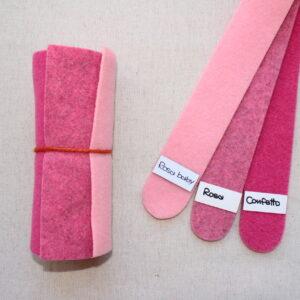 Girella feltro 2 mm rosa baby, rosa e confetto - Cose di Laura creatività in feltro