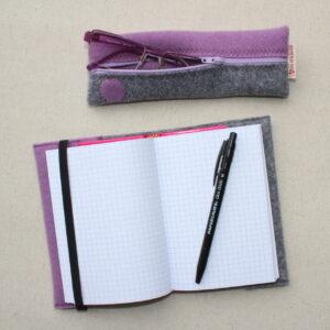 Quadernetto e astuccio stretto abbinati - Cose di Laura creatività in feltro