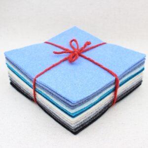 Quadrotto in feltro 3mm azzurro e grigio - Cose di Laura creatività in feltro