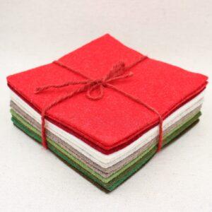 Quadrotto in feltro 3mm rosso, panna e verde - Cose di Laura creatività in feltro