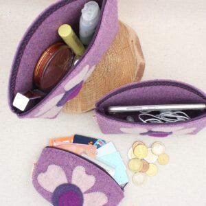 Pochette ortensia con fiore - Cose di Laura creatività in feltro