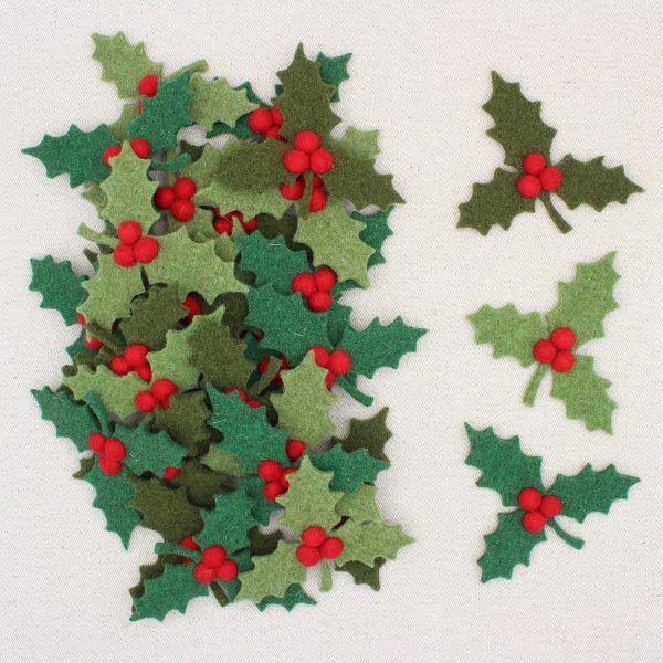Agrifogli in feltro con bacche rosse - Cose di Laura creatività in feltro