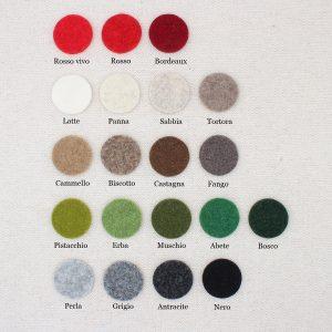 Tabella colori feltro di lana nei colori natalizi - Cose di Laura creatività in feltro