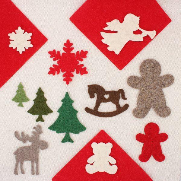 Sagome natalizie in feltro di lana spessore 3 mm: angelo, fiocco di neve, gingerbread, cavallino a dondolo, orsetto, alce e abeti - Cose di Laura feltro