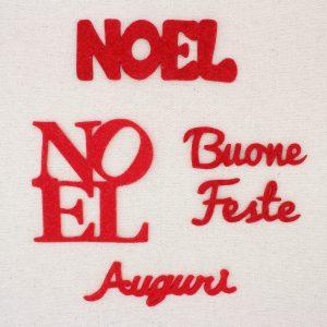Scritte natalizie in feltro di lana spessore 3 mm: Noel, buone feste, auguri - Cose di Laura creatività in feltro