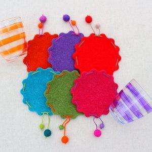 Sotto bicchieri smerlati in feltro - Cose di Laura creatività in feltro