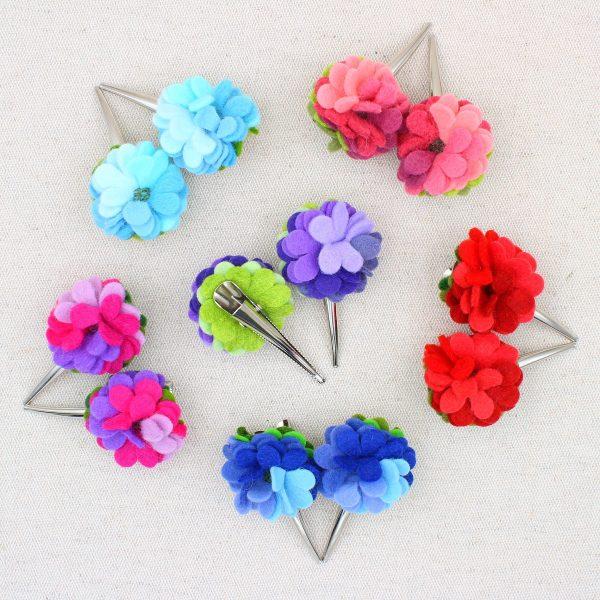Coppia beccucci per capelli con fiore in panno lana - Cose di Laura creatività in feltro