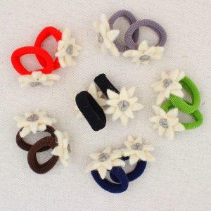 Coppia elastici per capelli con stella alpina in feltro - Cose di Laura creatività in feltro