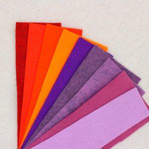 Mix 9 colori di panno lana in tagli 30x30 cm, tonalità arancio, rosso e viola - Cose di Laura creatività in feltro