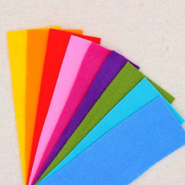 Mix 9 colori di panno lana in tagli 30x30 cm, tonalità arcobaleno vivace - Cose di Laura creatività in feltro