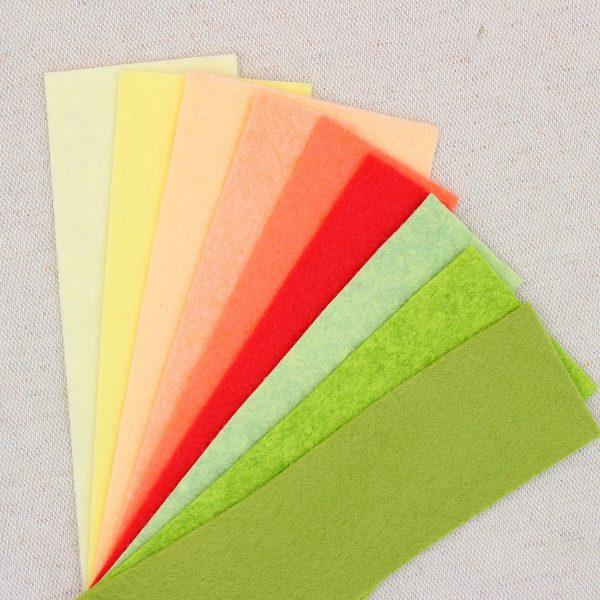 Mix 9 colori di panno lana in tagli 30x30 cm, tonalità giallino, pesca, verdino - Cose di Laura creatività in feltro