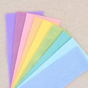 Mix 9 colori di panno lana in tagli 30x30 cm, tonalità arcobaleno pastello - Cose di Laura creatività in feltro