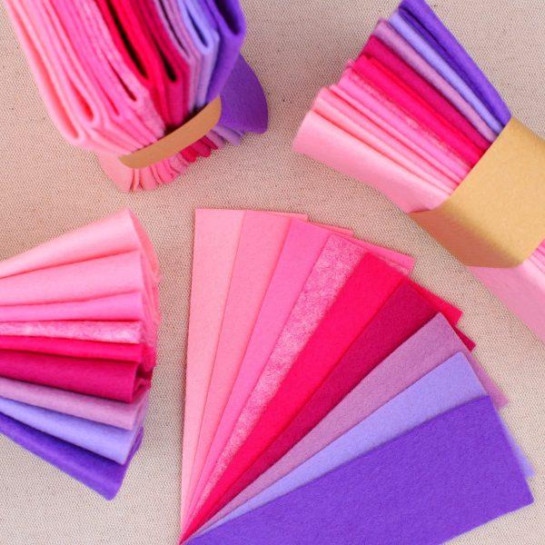 Mix 9 colori di panno lana in tagli 30x30 cm, tonalità rosa e lilla - Cose di Laura creatività in feltro