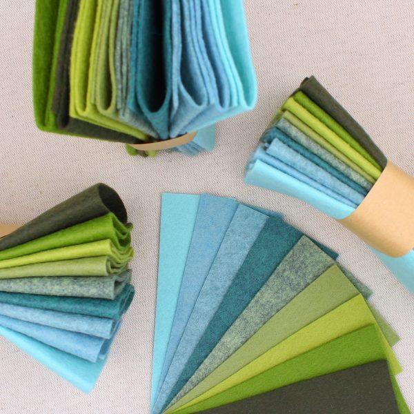 Mix 9 colori di panno lana in tagli 30x30 cm, tonalità turchese e verde - Cose di Laura creatività in feltro