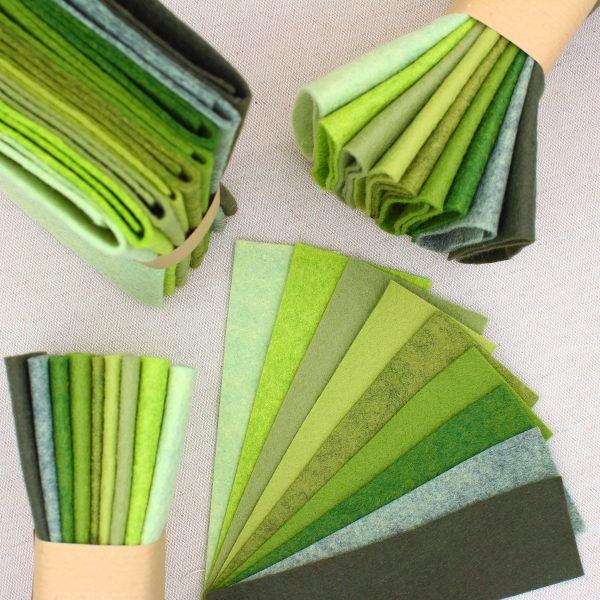 Mix 9 colori di panno lana in tagli 30x30 cm, tonalità verdi - Cose di Laura creatività in feltro