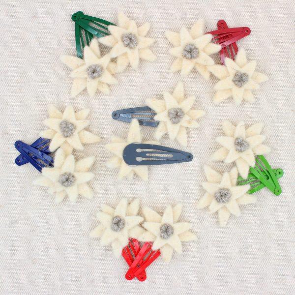 Coppia mollette per capelli con stella alpina in feltro - Cose di Laura creatività in feltro