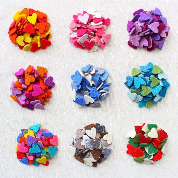 50 cuori in feltro assortiti in vari mix di colore - Cose di Laura creatività in feltro