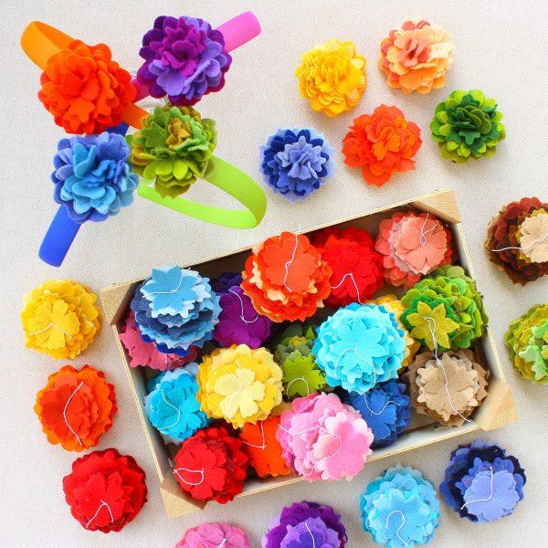Mix di 30 sagome fiori in pannolenci spessore 1 mm - Cose di Laura creatività in feltro