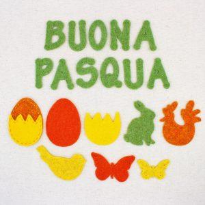 Sagome pasquali in feltro: scritta BUONA PASQUA, uovo, coniglio, gallina, uccellino, farfalla